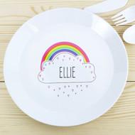 Kids Personalised Rainbow Plastic Plate