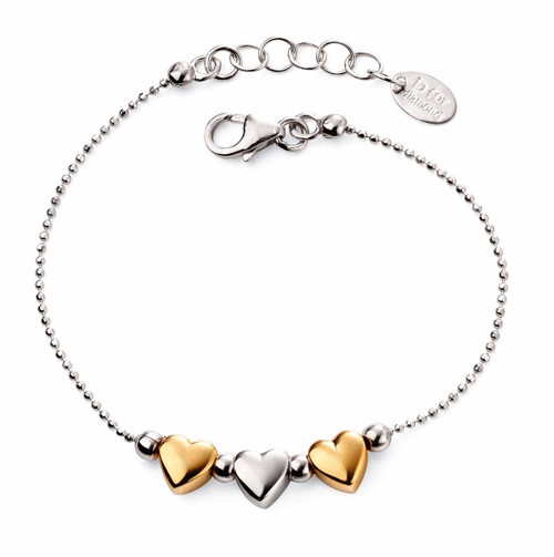 D for Diamond Silver and Gold Hearts Bracelet- B5005