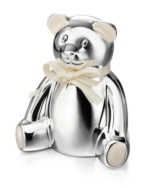 D for Diamond Silver Plated Teddy Bear Money Box (Y413)