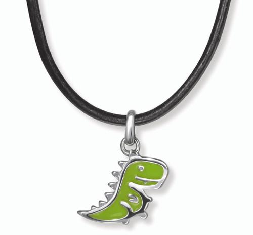Boy's Green Dinosaur Necklace D for Diamond