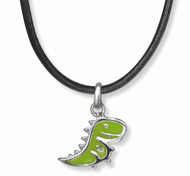 Boy's Green Dinosaur Necklace D for Diamond