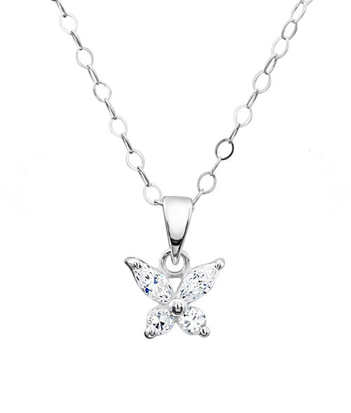 Jo For Girls Sparkly CZ Butterfly Pendant