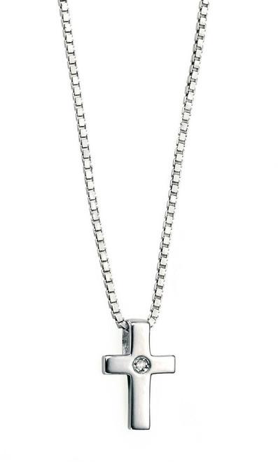 D for Diamond girls silver christening cross pendant P800