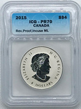 2015 Silver $4 ML PR70 ICG Rev Proof blue label