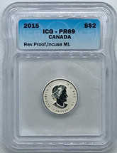 2015 Silver $2 ML PR69 ICG Rev. Proof blue label
