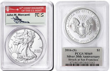 2016-(S) ASE MS69 PCGS 30th Anniv Struck @ San Fran Mercanti (red bridge label)