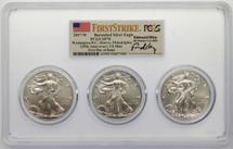 2017-W Burn ASE SP70 PCGS 3-coin slab DC, Denver, Phili 225th Anniv US Mint FDOI Flag First Strike Moy