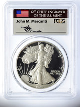 1986-S Proof Silver Eagle  PR 70 DCAM PCGS Mercanti Signed - PRICE GUIDE $1800