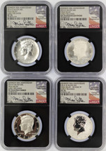 2014 50C Silver 4-Coin Set SP/Enh. SP/PF/Rev. PF70 NGC High Relief Early Releases Kennedy 50th Anniv Mike Castle (black core)