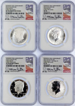 2014 50C Silver 4-Coin Set SP/Enh. SP/PF/Rev. PF70 NGC High Relief Early Releases Kennedy 50th Anniv Mike Castle (white core)