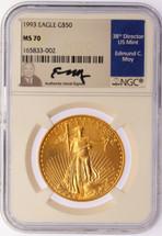 1993 $50 Gold Eagle MS70 NGC Ed Moy label Pop 3