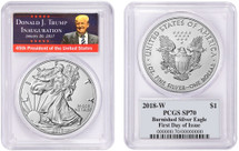 2018-W Burnished Silver Eagle SP70 PCGS TRUMP *Pop 150*