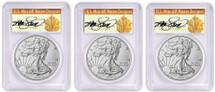 2018-W Burnished Silver Eagle SP70 PCGS FDOI 3-Coin City Set Thomas Cleveland Art Deco *Pop 70*