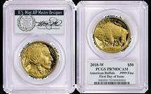2018-W $50 Proof Gold Buffalo PR70 PCGS FDOI T. Cleveland Veteran label *Pop 10*