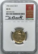 1986 $10 Gold Eagle MS70 NGC Kenneth Bressett
