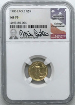 1986 $5 Gold Eagle MS70 NGC Mike Castle