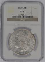 1901 S Morgan Silver Dollar MS63 NGC