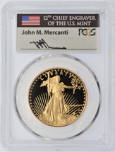 1986-W $50 Gold Proof Eagle PR70DCAM PCGS John Mercanti Flag