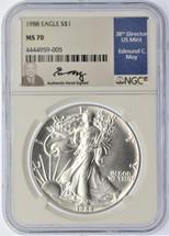 1988 $1 Silver Eagle MS70 NGC Ed Moy Signed