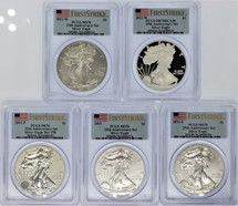 2011 5-Coin Silver Eagle Set MS/PR/Rev PR70 PCGS 25th Anniv Set Flag First Strike