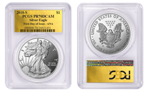 2018-S Proof Silver Eagle PR70 PCGS FDOI - ANA Gold Foil Pop 75