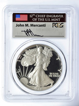 1987-S Proof Silver Eagle PR 70 DCAM PCGS Mercanti Signed - PRICE GUIDE $1995