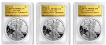 2018-S Proof Silver Eagle PR70 PCGS 3-Coin City Denver, Phili, DC Gold Foil