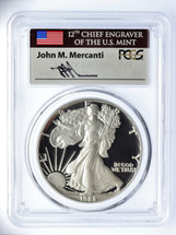 1988-S Proof Silver Eagle PR 70 DCAM PCGS Mercanti Signed - PRICE GUIDE $1495