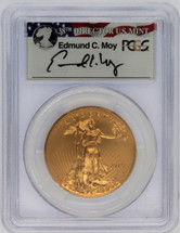2015-W $50 Burnished Gold Eagle SP70 PCGS FDOI Wash DC Ed Moy