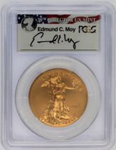 2015-W $50 Burnished Gold Eagle SP70 PCGS FDOI Wash DC Ed Moy