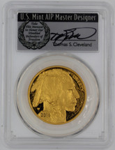 2016-W $50 Proof Gold Buffalo PR70 PCGS First Strike 10th Anniv T. Cleveland wreath