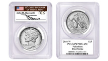 2018-W $25 Palladium PCGS PR70 First Strike MERCANTI