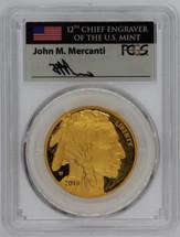 2018-W $50 Gold Buffalo PR70 PCGS flag Mercanti