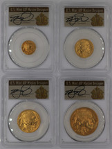2008-W Burn Gold Buffalo 4-coin ($5, 10, 25, 50) SP70 PCGS T. Cleveland Art Deco