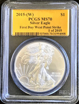 2015-(W) Silver Eagle MS 70 PCGS First Day West Point Strike Gold Foil Label 1 of 2015