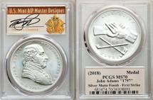 2018 John Adams 1oz Silver MS70 PCGS Medal First Strike T. Cleveland Art Deco *Pop 85*