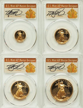 1993 Proof Gold Eagle PR70 PCGS 4-Coin Set ($5, 10, 25, 50) T. Cleveland Art Deco