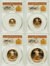1991 Proof Gold Eagle PR70 PCGS 4 Coin Set ($5, 10, 25, 50) T. Cleveland Art Deco