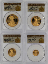 1990 Proof Gold Eagle PR70 PCGS 4-coin Set ($5, 10, 25, 50) T. Cleveland Art Deco