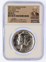 2017 $25 Palladium MS69PL NGC High Relief Early Release Signed by A. Weinman