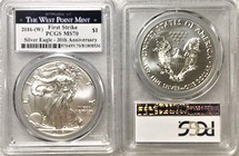 2016-(W) ASE MS70 PCGS 30th Anniv First Strike West Point Mint label