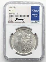 1886 Morgan Dollar MS64 NGC Ed Moy signed
