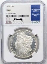 1879 S Morgan Dollar MS64 NGC Ed Moy signed San Fran Mint