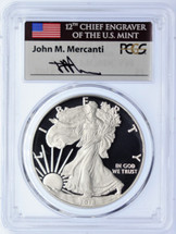 2018-W Proof Silver Eagle PCGS PR70 First Day of Issue Mercanti FUN Show