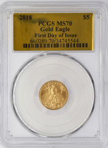 2018 $5 Gold Eagle MS70 PCGS FDOI Gold Foil label