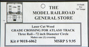 "Atlas O 3-rail 72"" Railroad Crossing for curved sectonal track"
