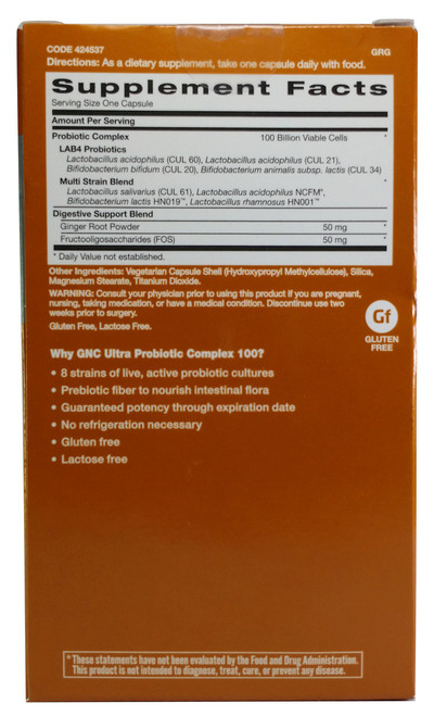 GNC Ultra Probiotic Complex 100 Billion CFUs 20 Veg Capsules
