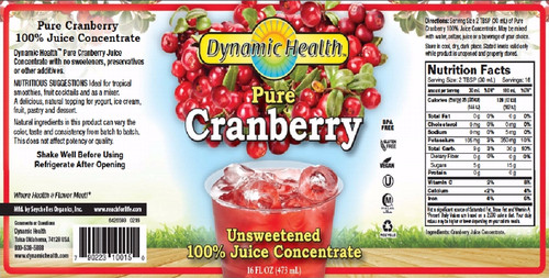 GNC Dynamic Health Cranberry Juice Concentrate Label + Nutritional Facts