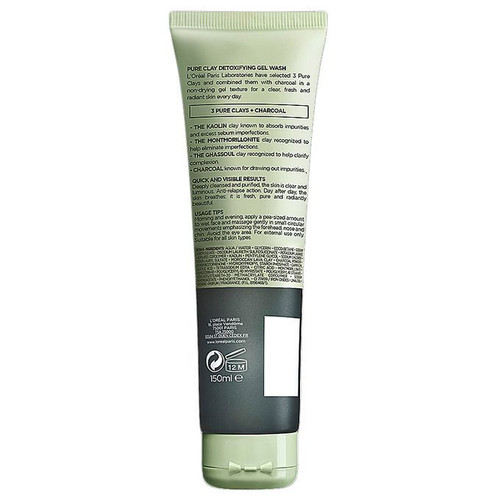 L'oreal Paris Pure Clay Charcoal Detoxifying Face Wash- Black 150ML best price original products