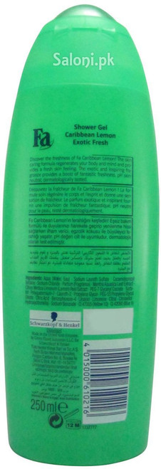 Fa Caribbean Lemon Exotic Fresh Shower Gel (back)